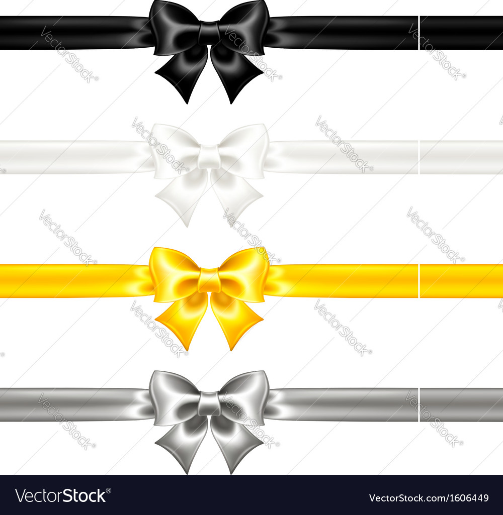 Silk bows black and gold with ribbons vector | Price: 1 Credit (USD $1)