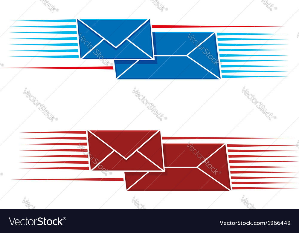 Two snail mail icons with envelopes vector | Price: 1 Credit (USD $1)