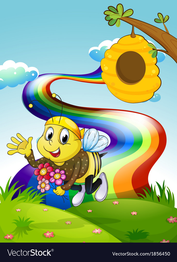 A rainbow at the hilltop with a bee and a beehive vector | Price: 3 Credit (USD $3)
