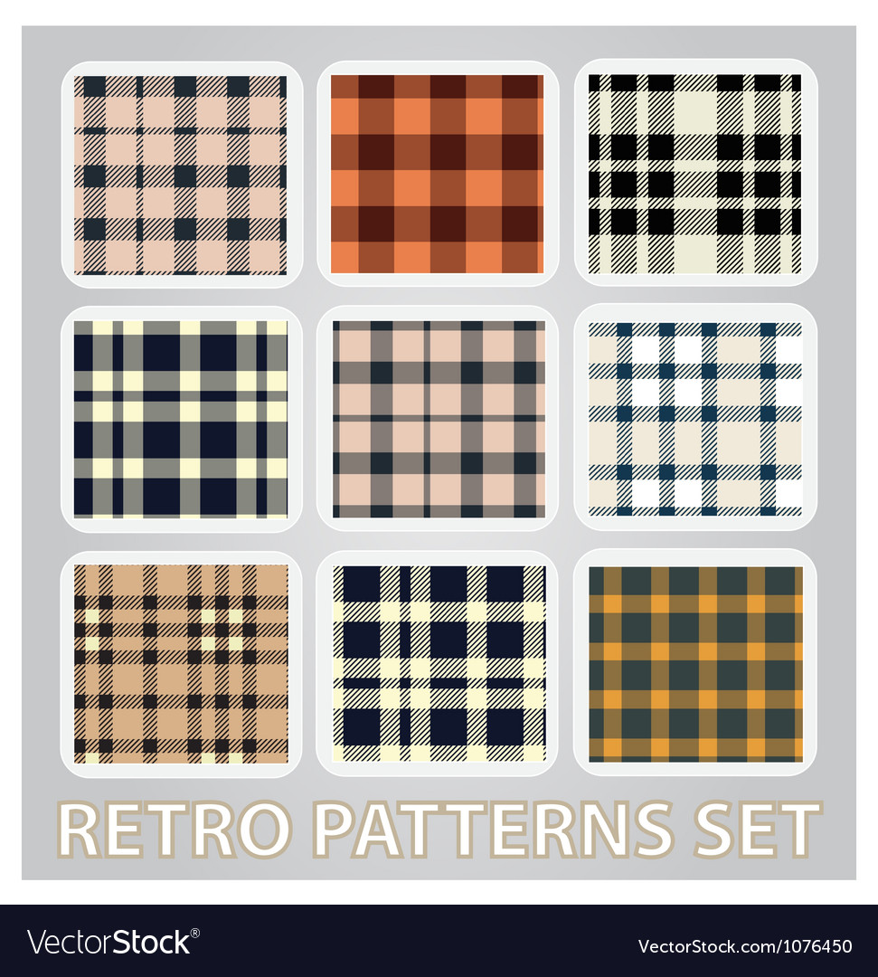 Abstract retro patterns set textile background vector | Price: 1 Credit (USD $1)