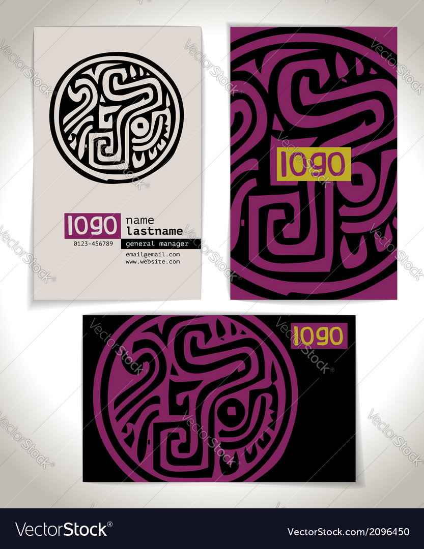 Ancient business card design vector