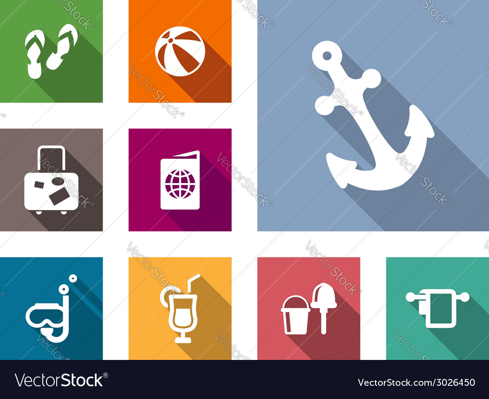 Beach and travel flat style icons set vector | Price: 1 Credit (USD $1)