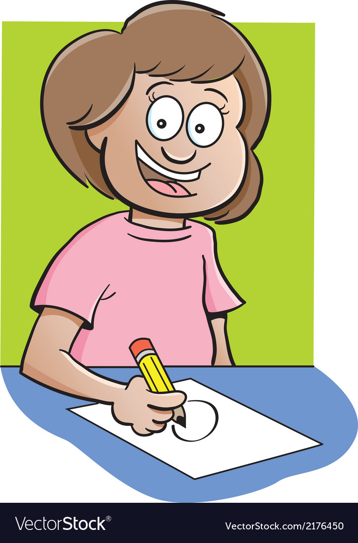 Cartoon girl at desk drawing vector | Price: 1 Credit (USD $1)