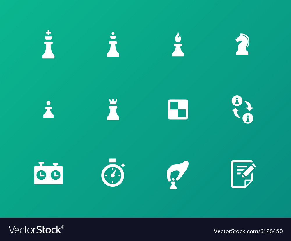 Chess strategy icons on green background vector | Price: 1 Credit (USD $1)
