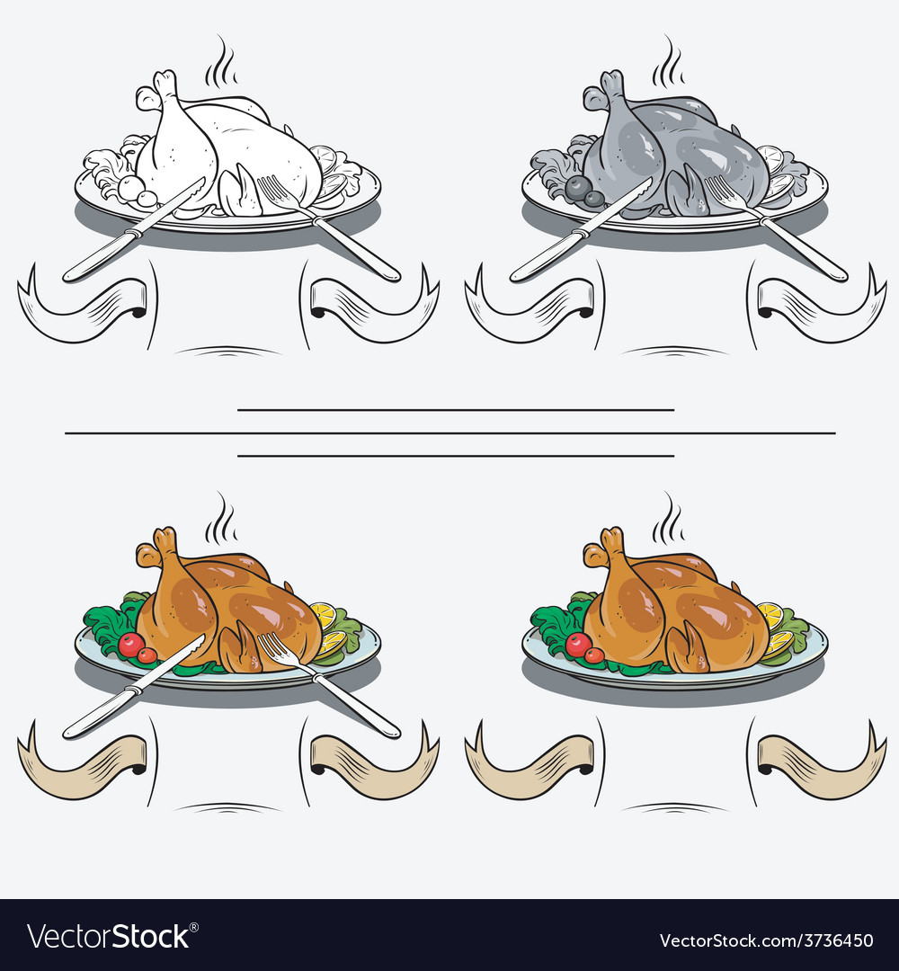Cooked chicken on the grill vector | Price: 1 Credit (USD $1)
