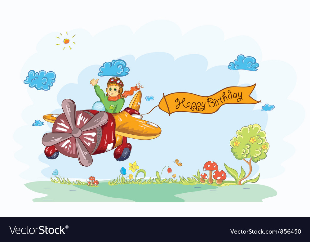 Cute kid flying with a plane vector | Price: 1 Credit (USD $1)