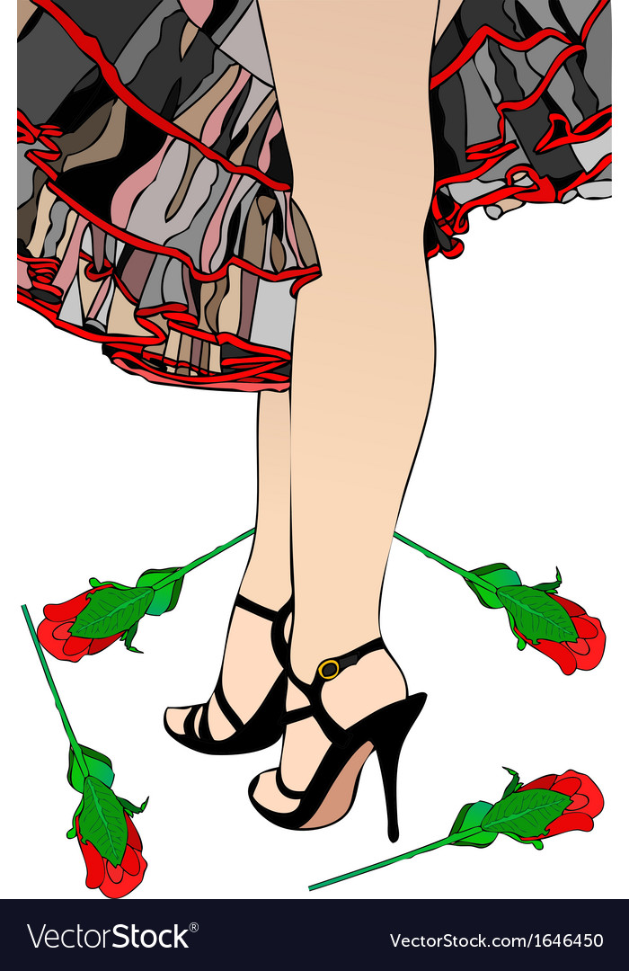 Flamenco and red roses vector | Price: 1 Credit (USD $1)