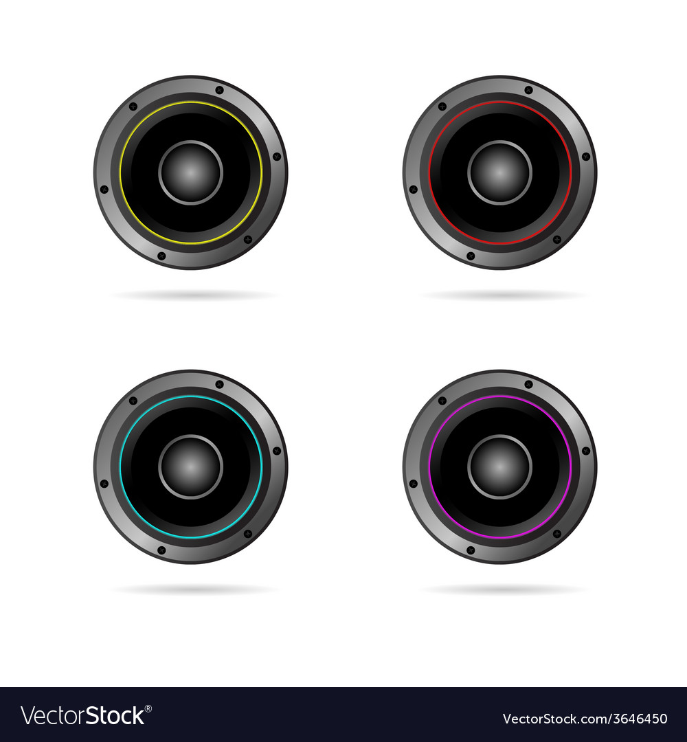 Four speakers with different colors vector | Price: 1 Credit (USD $1)