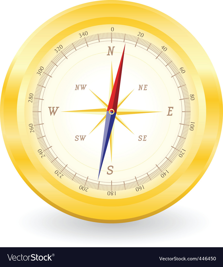 Gold compass vector | Price: 1 Credit (USD $1)