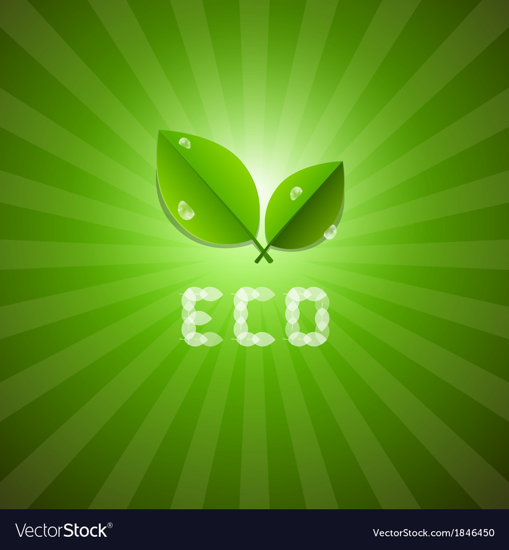 Green ecology background with leaves and eco title vector | Price: 1 Credit (USD $1)