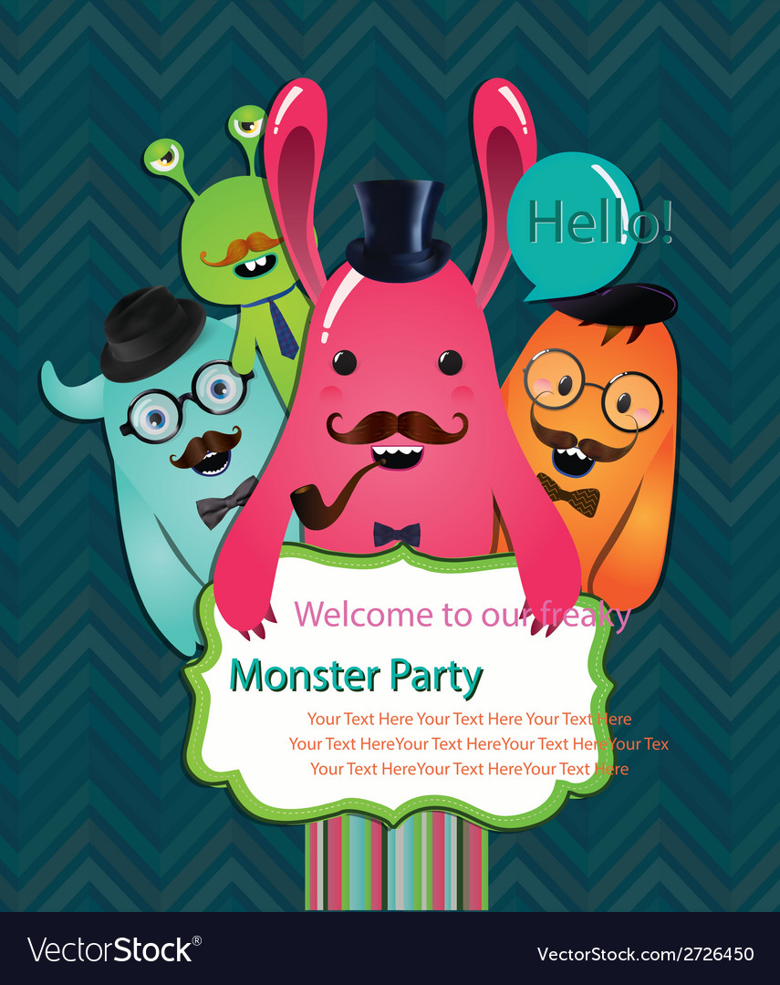 Monster party card design vector | Price: 1 Credit (USD $1)