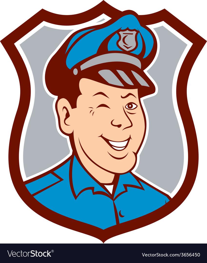 Policeman winking smiling shield cartoon vector | Price: 1 Credit (USD $1)