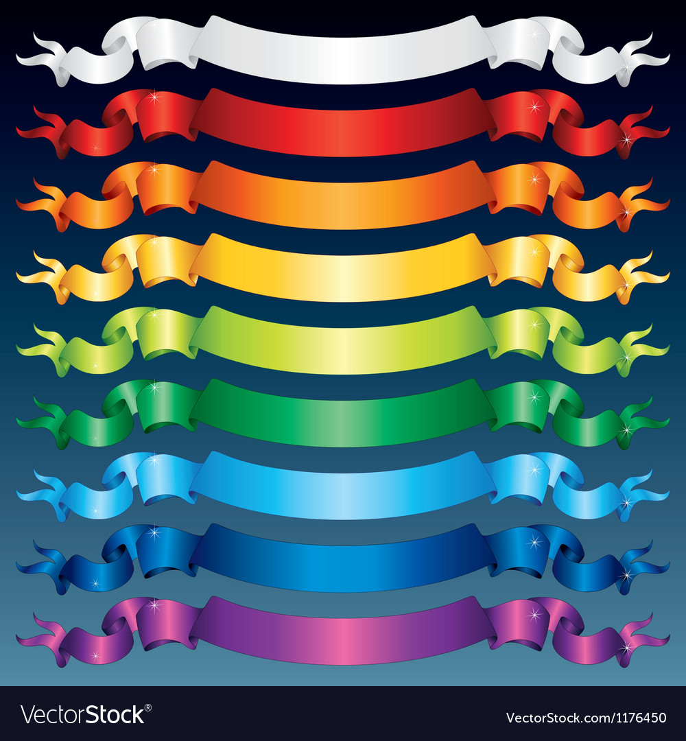 Shiny ribbon banners multicolored set vector | Price: 1 Credit (USD $1)
