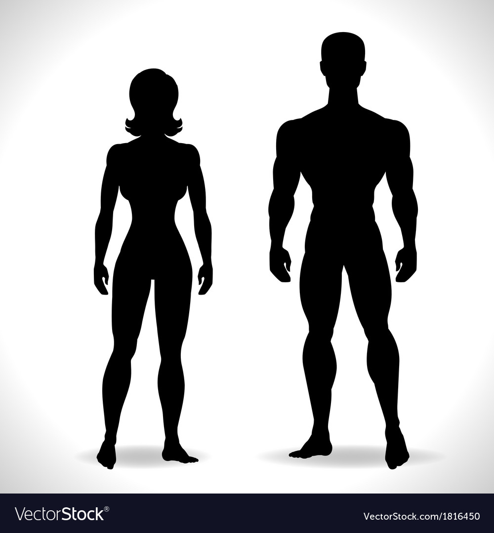 Silhouettes of man and woman in black color vector | Price: 1 Credit (USD $1)