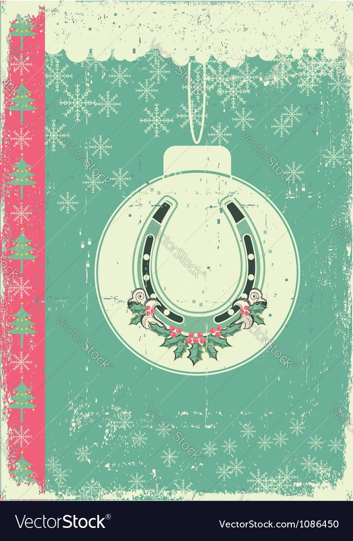 Vintage christmas card on old paper background vector | Price: 1 Credit (USD $1)