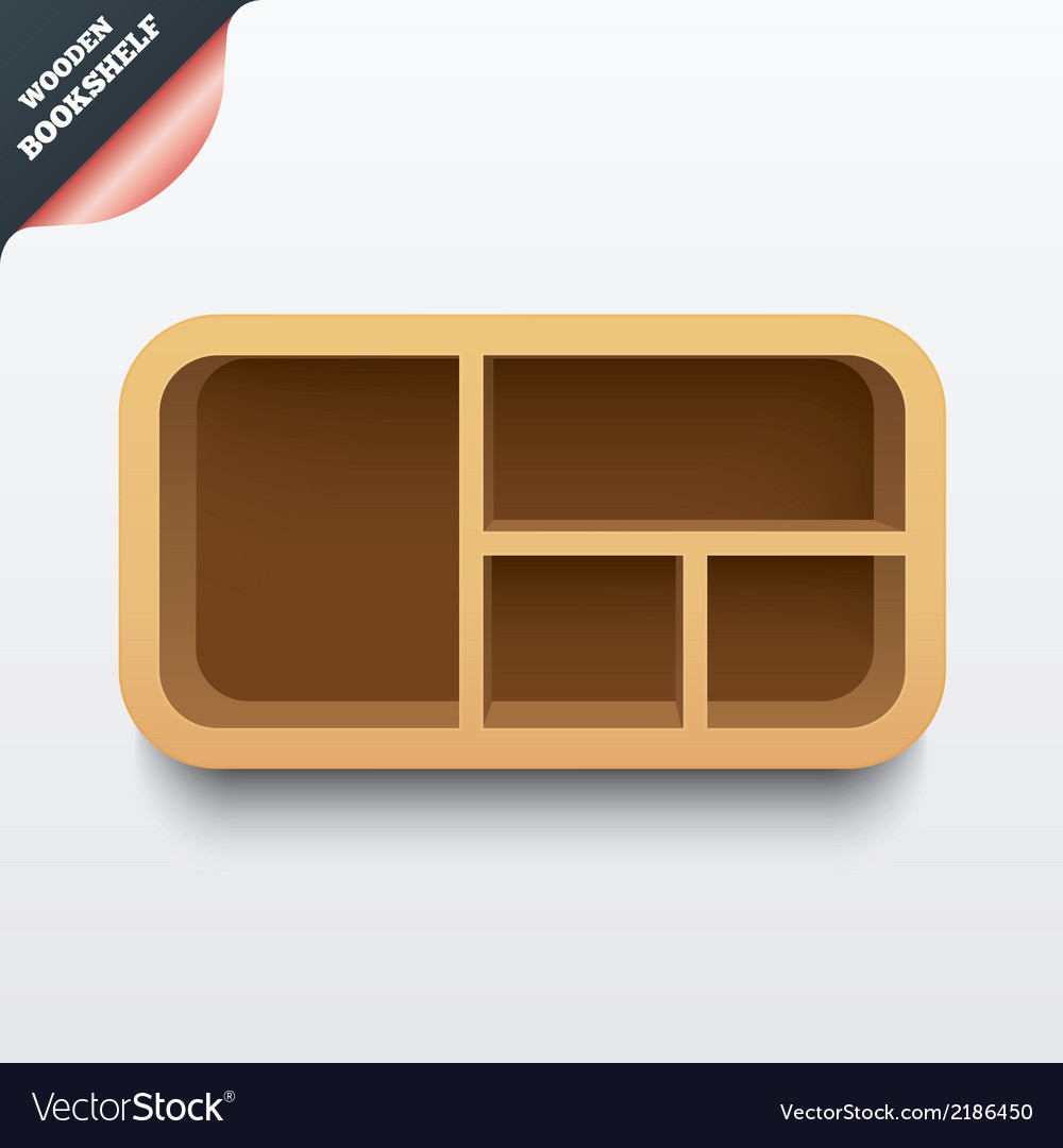Wooden shelf bookshelf with rounded corners vector | Price: 1 Credit (USD $1)