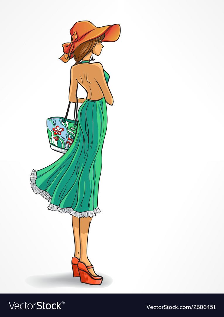 Elegant slender girl in hat vector | Price: 1 Credit (USD $1)