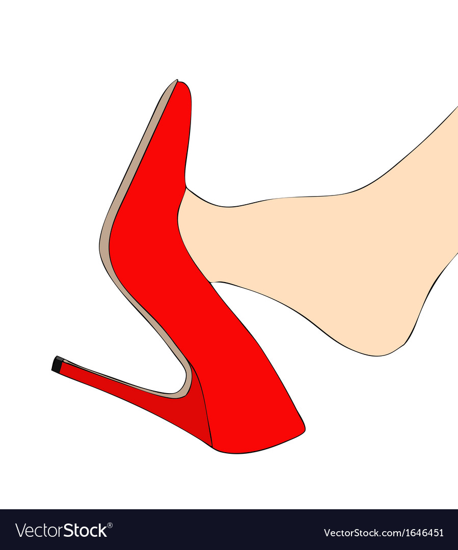 Foot and red high heels vector | Price: 1 Credit (USD $1)