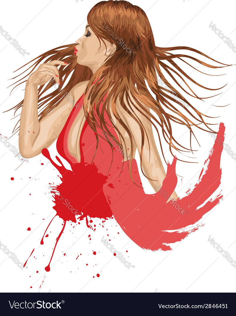 Grunge girl in red vector | Price: 1 Credit (USD $1)