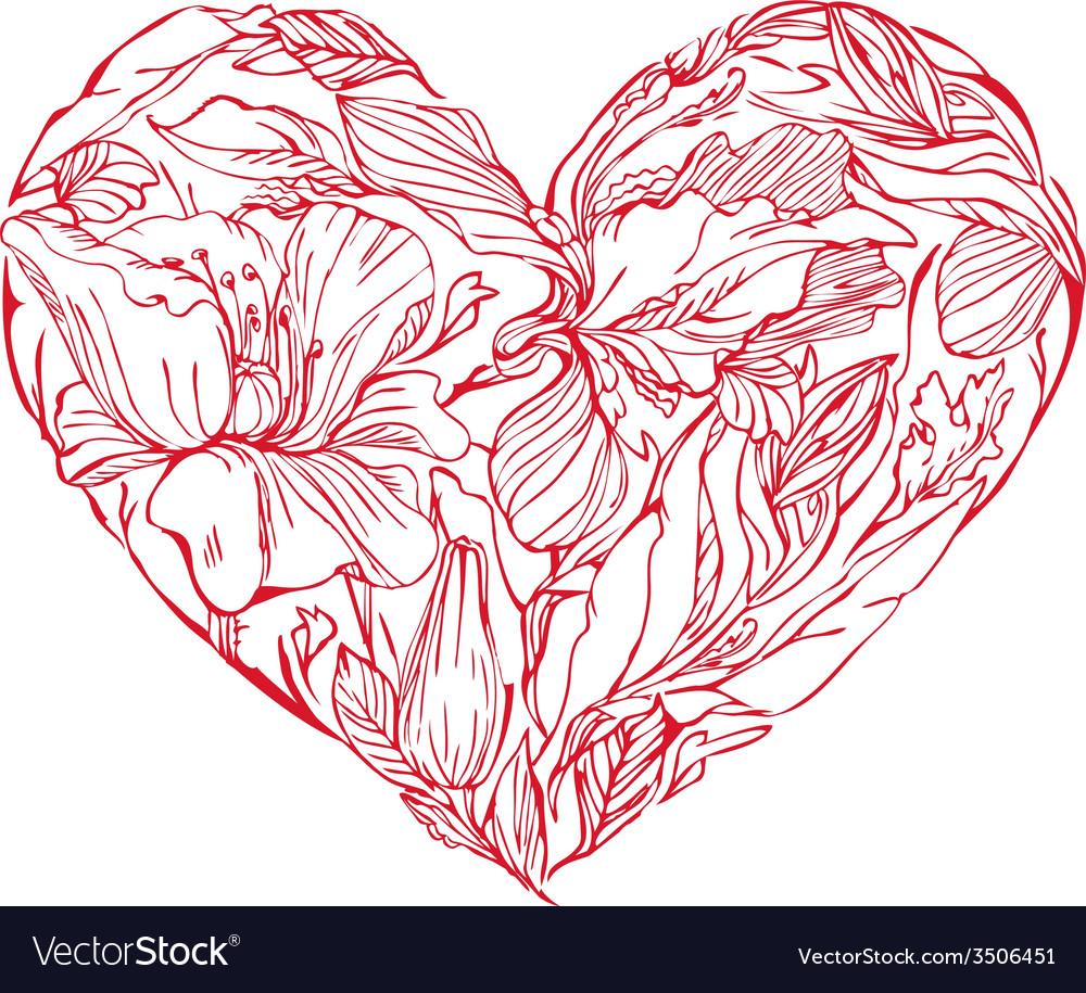 Heart flowers 3 380 vector | Price: 1 Credit (USD $1)