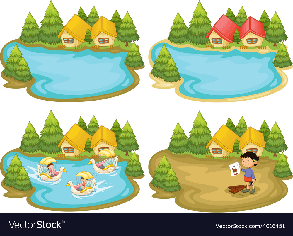 Houses and lake vector   Price: 3 Credit (USD $3)
