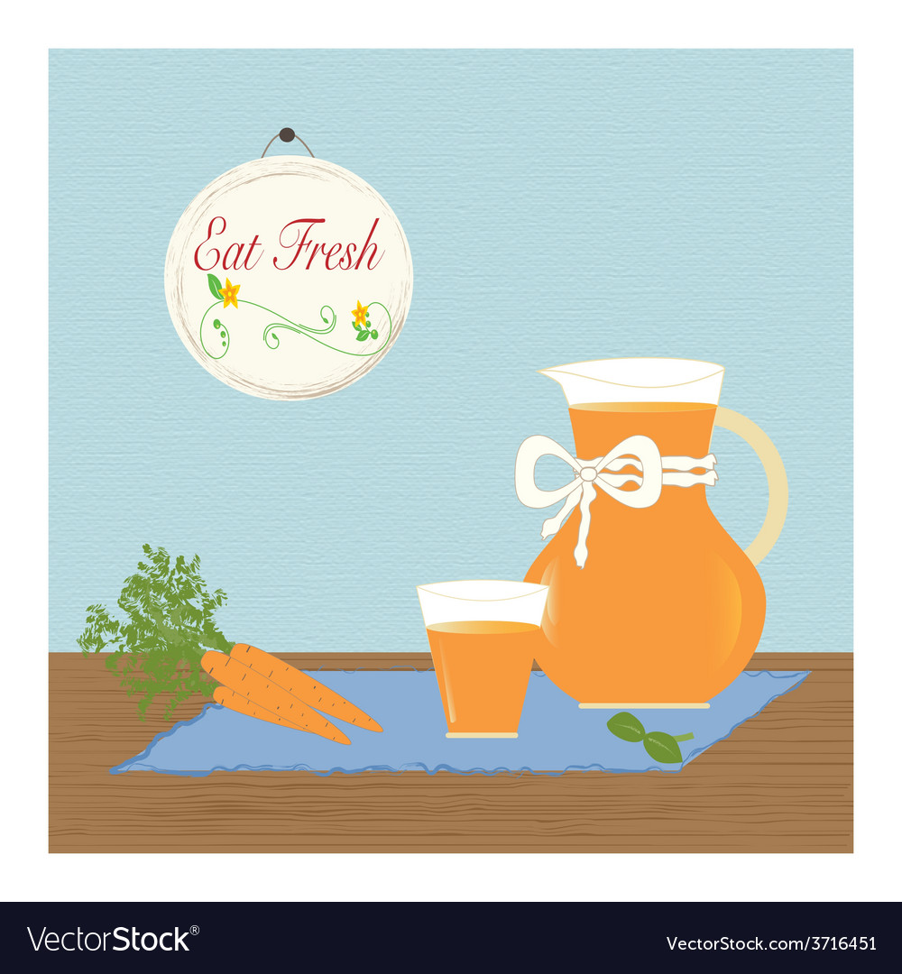 Pitcher with carrot juice eat fresh healthy vector | Price: 1 Credit (USD $1)