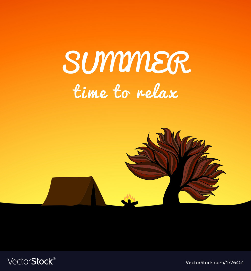 Poster summer landscape style recreation theme vector | Price: 1 Credit (USD $1)