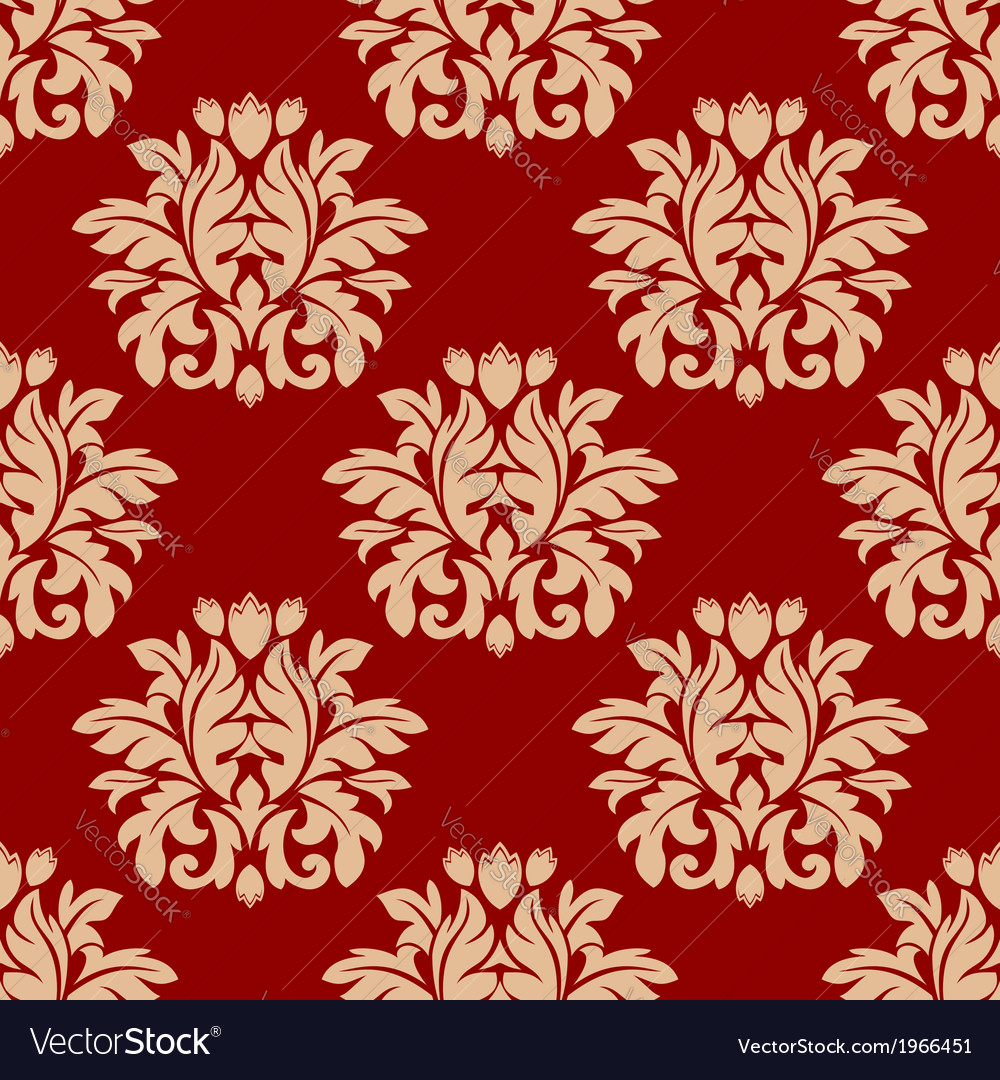 Red damask style arabesque pattern vector | Price: 1 Credit (USD $1)