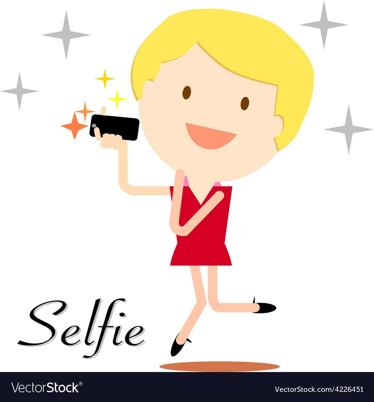 Selfie girl vector | Price: 1 Credit (USD $1)