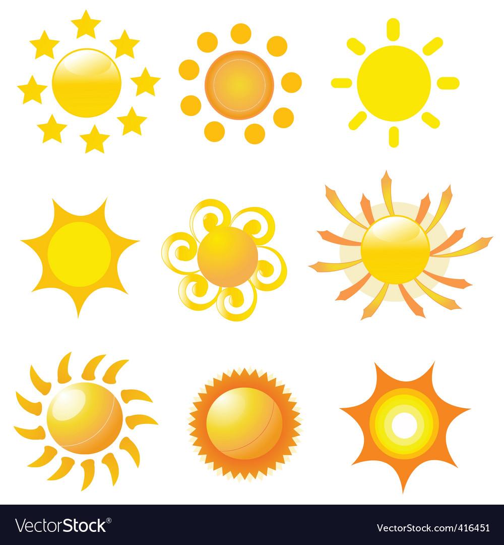 Sunshine icons vector | Price: 1 Credit (USD $1)