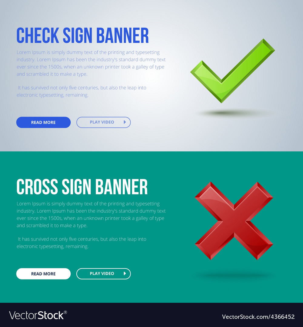 Banner of check mark and cross vector | Price: 1 Credit (USD $1)