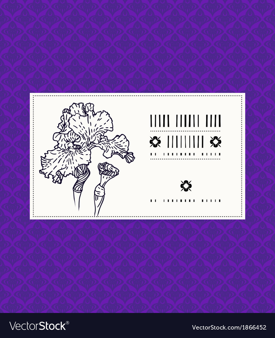 Card with iris flower vector | Price: 1 Credit (USD $1)
