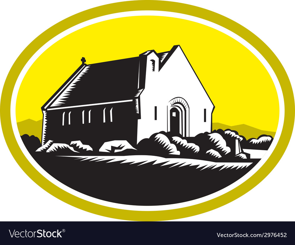 Church of good shepherd lake tekapo retro vector | Price: 1 Credit (USD $1)