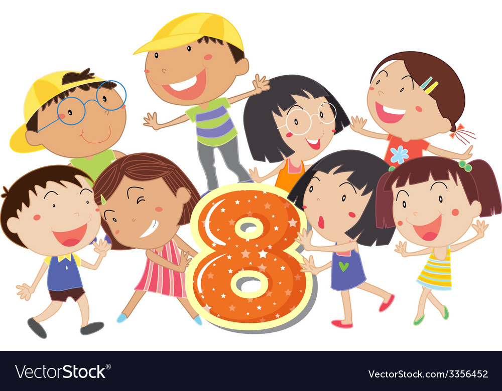 Eight playful kids vector | Price: 3 Credit (USD $3)
