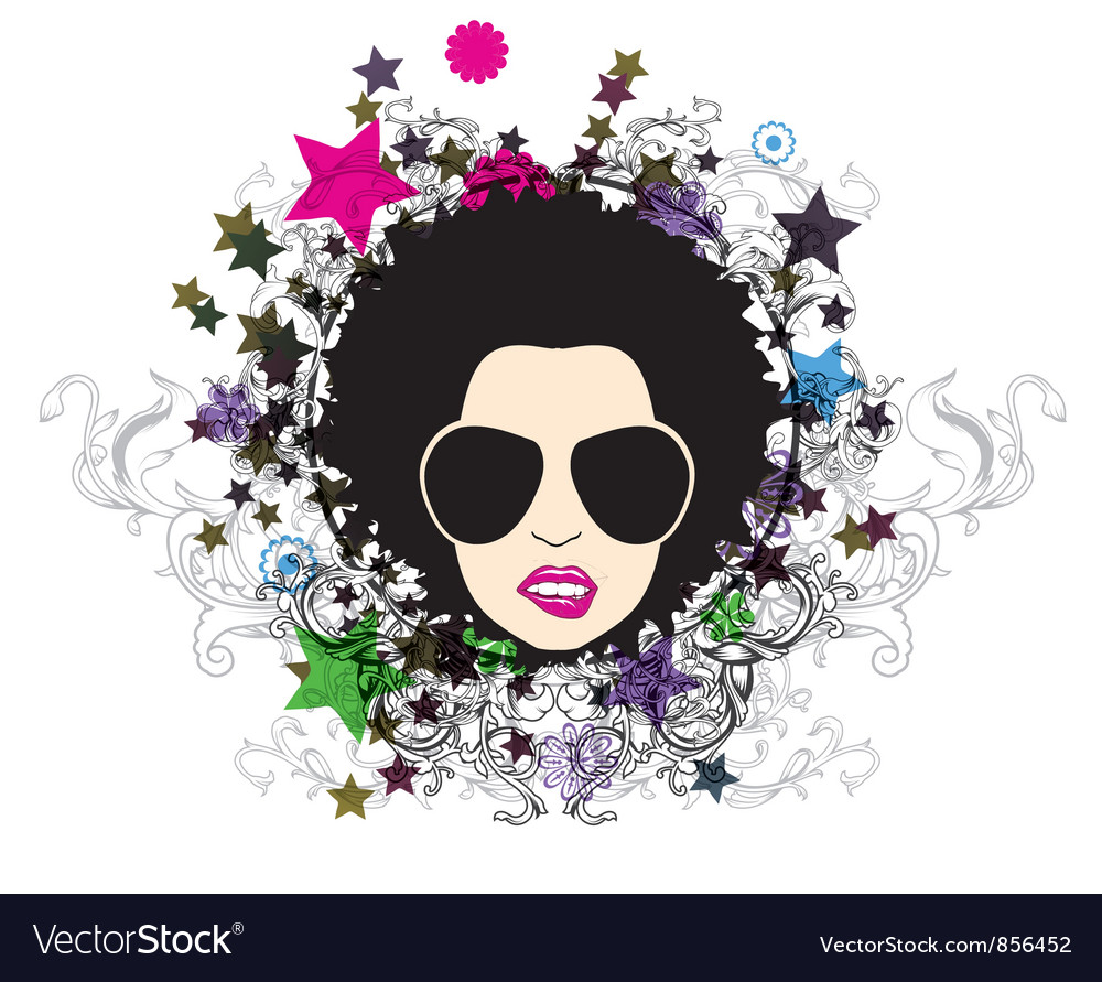 Funky face with floral vector | Price: 1 Credit (USD $1)