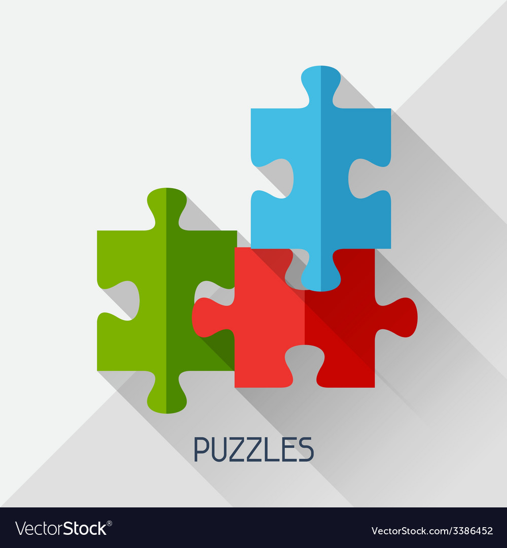 Game with puzzles in flat design style vector | Price: 1 Credit (USD $1)