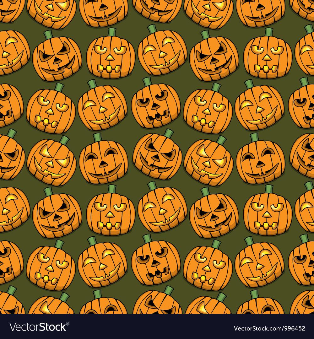 Halloween pumpkins seamless pattern vector | Price: 1 Credit (USD $1)