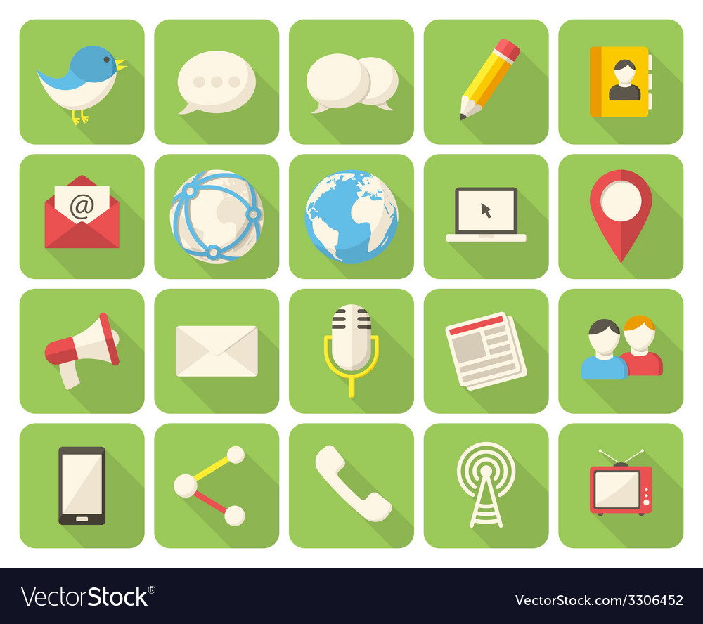 Media and communication icons vector | Price: 1 Credit (USD $1)