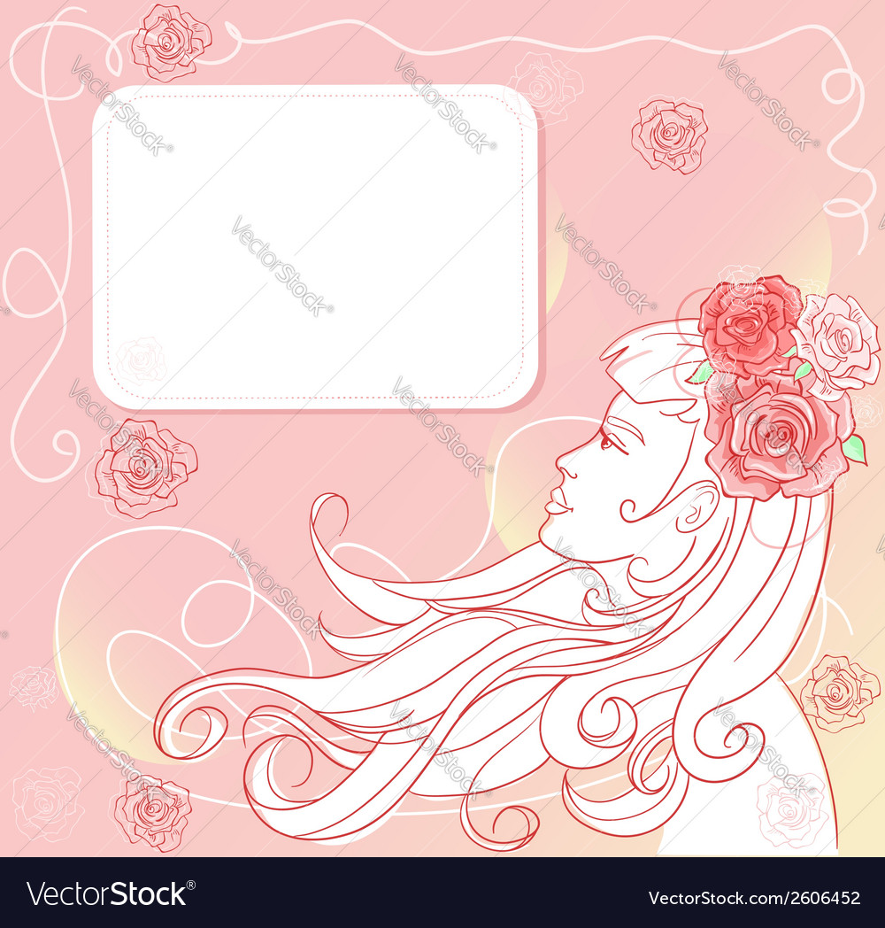 Pink floral template with stylish woman vector | Price: 1 Credit (USD $1)