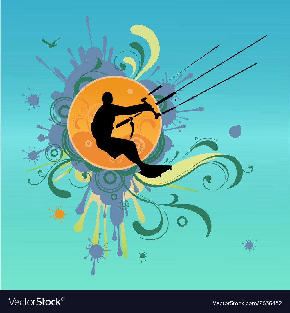 Retro kite surf vector | Price: 1 Credit (USD $1)