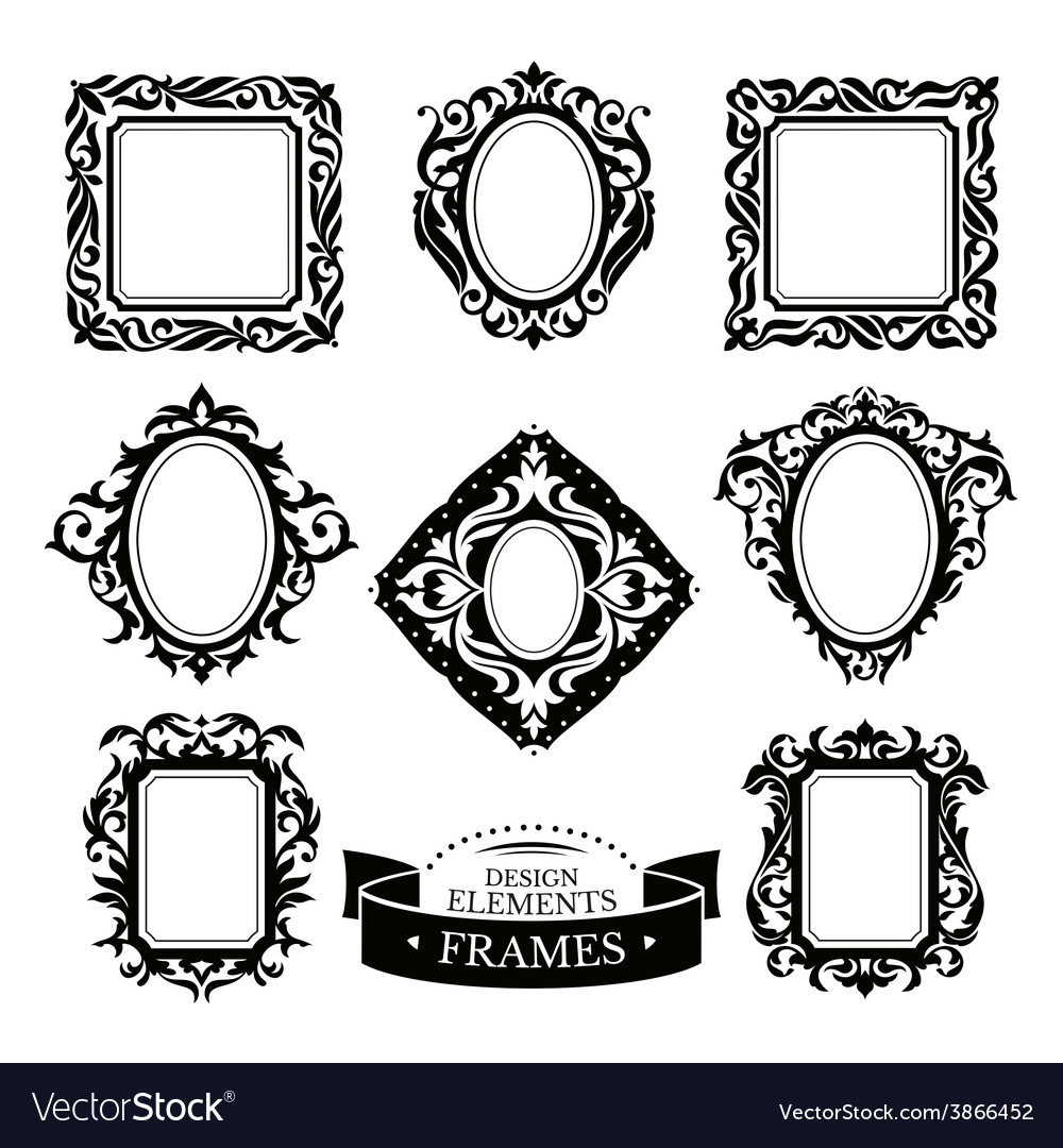 Set of vintage baroque frames vector | Price: 1 Credit (USD $1)