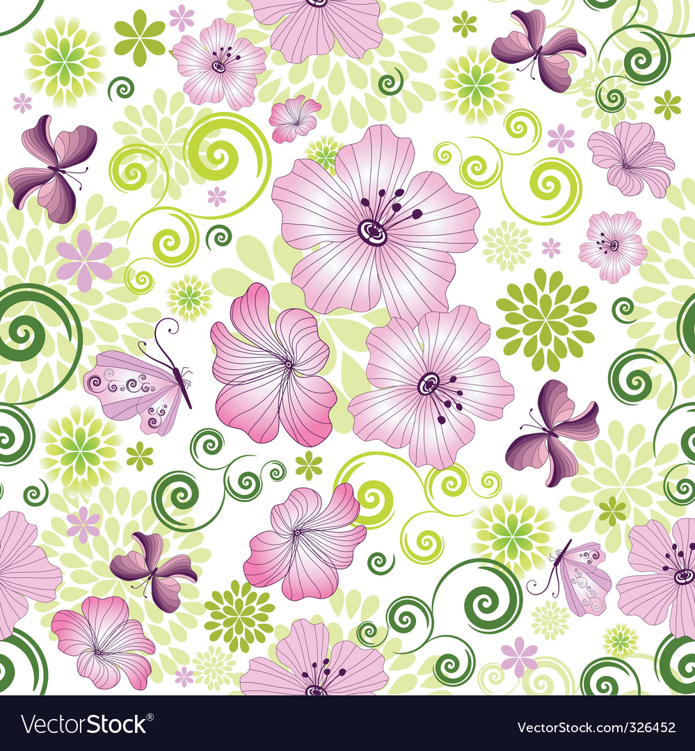 Spring repeating white floral pattern vector | Price: 1 Credit (USD $1)
