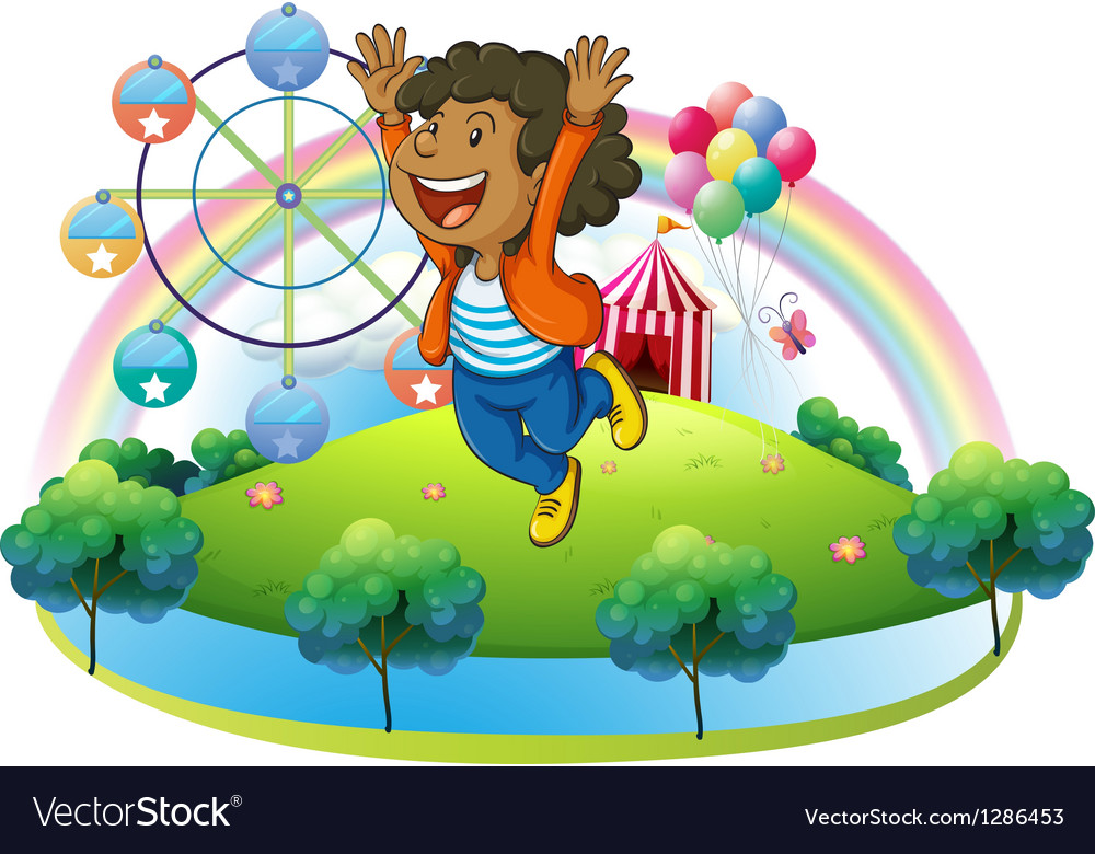 A happy boy in the hill with a carnival vector | Price: 1 Credit (USD $1)