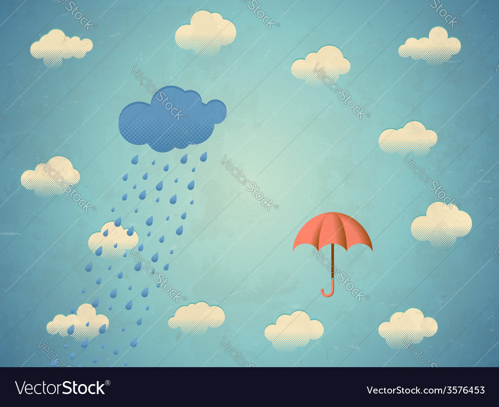 Aged card with rainy cloud and umbrella vector | Price: 1 Credit (USD $1)