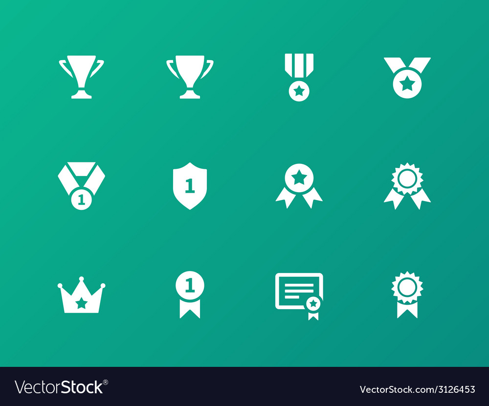 Awards icons on green background vector | Price: 1 Credit (USD $1)