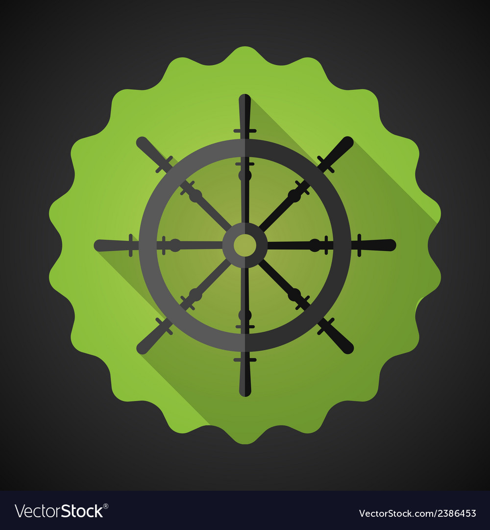 Boat steering whell flat icon with long shadow vector | Price: 1 Credit (USD $1)