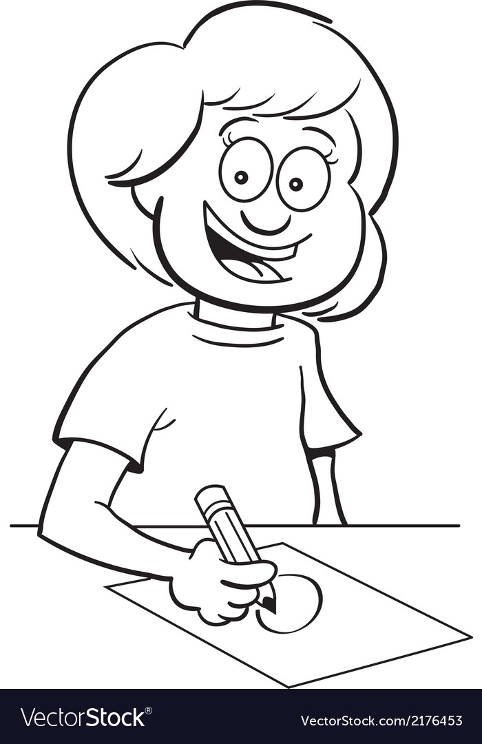 Cartoon girl at desk drawing vector   Price: 1 Credit (USD $1)