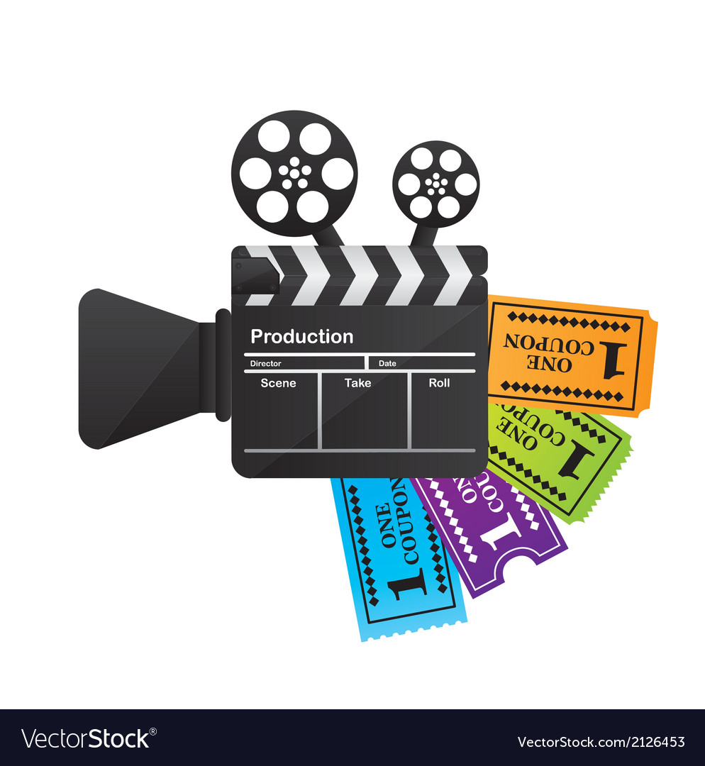 Clapper board with tickets vector | Price: 1 Credit (USD $1)