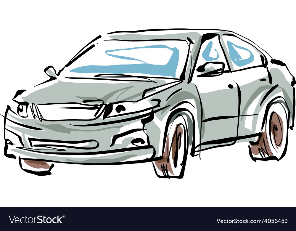 Colored hand drawn car on white background sedan vector | Price: 1 Credit (USD $1)