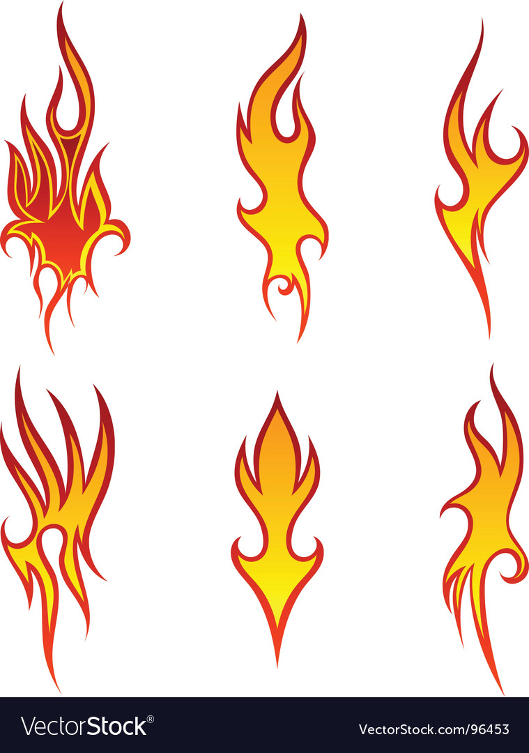 Fire patterns set vector | Price: 1 Credit (USD $1)